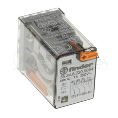 Relè Finder serie 55 7A 4PDT Bobina 230V ac 55.34.8.230.0054 14 pin Finder