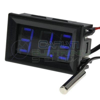 Thermometer Digital Display Blue from -20 to +100℃ with NTC Voltage 12V 24VGenerico