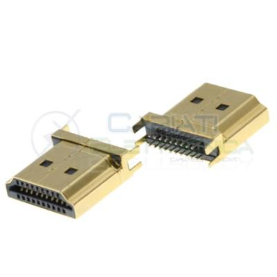 2 Pezzi Connettore porta spina HDMI maschio 19pin a saldare da PCB DIP Circuito Generico