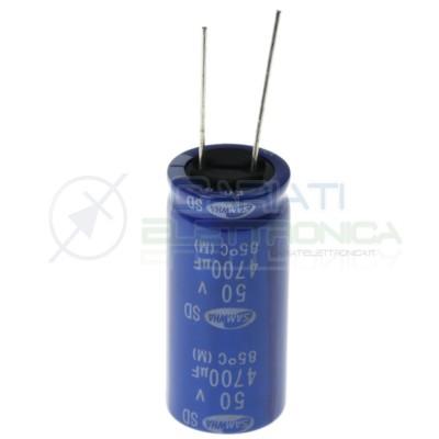 Condensatore elettrolitico 4700uF 4700 uF 50V 85° 40x18mm Passo 7,5mm Samwha