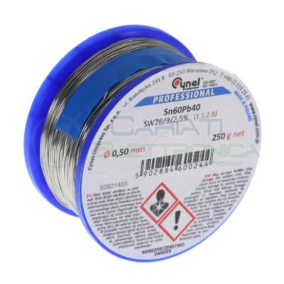 250g Bobina rotolo stagno Diamentro 1 mm Sn 60 Pb 40 60-40 flux 2.5% Cynel 0,25 kg Cynel