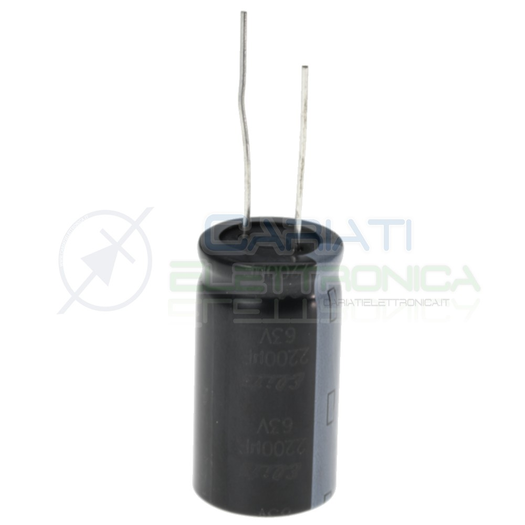 Condensatore elettrolitico 2200uF 2200 uF 63V 85° 18X32 mm Passo 7,5mm Elite Elite 1,00€