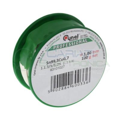 100g Stagno 1mm Diametro flux 3% Sn 99,3 Cu 0.7 99,3-0,7 lead free Bobina rotolo Cynel
