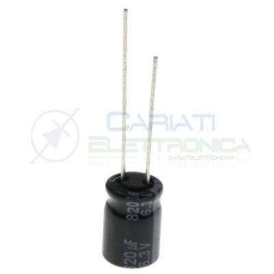 Capacitor electrolytic 820uF 820 uF 6,3V 105° 8X11,5 mm pitch 3,5mmPanasonic