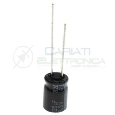Condensatore elettrolitico 820uF 820 uF 6,3V 105° 8X11,5 mm Passo 3,5mm Panasonic