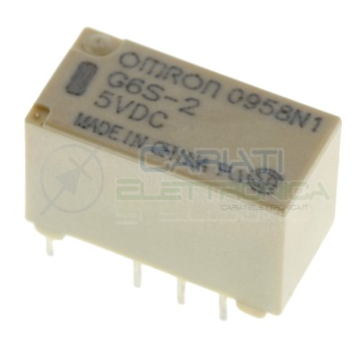 Relè doppio 2 scambio OMRON G6S-2 5V DC 0.5A 125V 24V Dpdt Omron