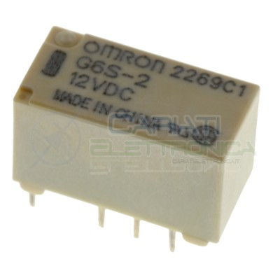 Relè doppio 2 scambio OMRON G6S-2 12V DC 0.5A 125V Dpdt Omron