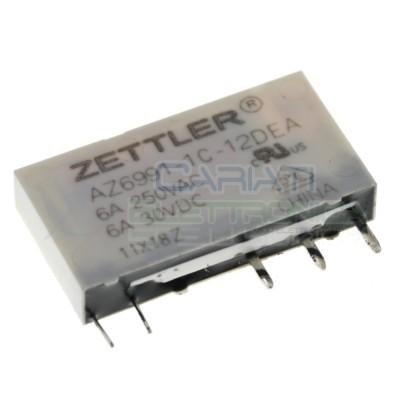 Relè singolo scambio Zettler AZ6991-1C-12DE bobina 12V Spdt 6A 250Vac 24Vdc Zettler