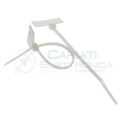 100 Pezzi Fascette 110x2,5mm Bianche con Targhetta Marcatore Generico
