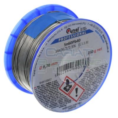 250 gr Reel soldering wire 0.7 mm Diameter flux 2,5% Sn 60 Pb 40 Sn60Pb40 CynelCynel