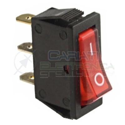 10 pezzi Iinterruttore a bilanciere 15A 250VA ROCKER Rosso Da pannello con luce