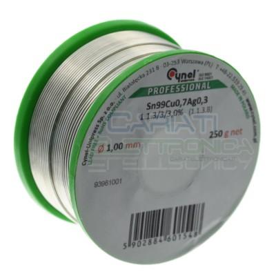250gr Bobia rotolo stagno 1mm Sn99 Cu0.7 Ag0.3 flux 3% lead free Cynel