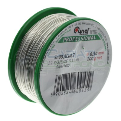 100gr Reel soldering wire 0,5mm Sn99.3 Cu0.7 flux 3% lead freeCynel