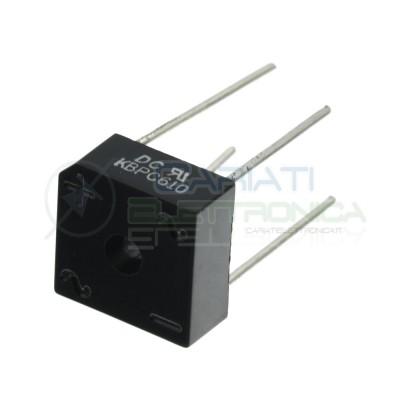Ponte raddrizzatore monofase KBPC610 Vmax 1000V Corrente 6A 15x15x7mm Tht DC COMPONENTS