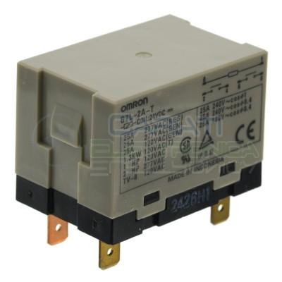 Relè G7L-2A-T G7L2AT bobina 24Vdc 24V corrente 25A contatto DPST Omron Omron