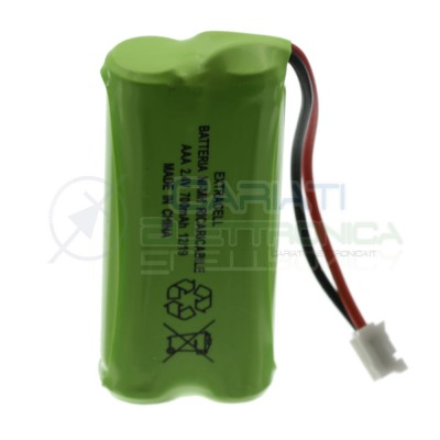 Battery pack 2,4V 700mah for cordless Rechargeable phone NiMh 2 wiresExtracell