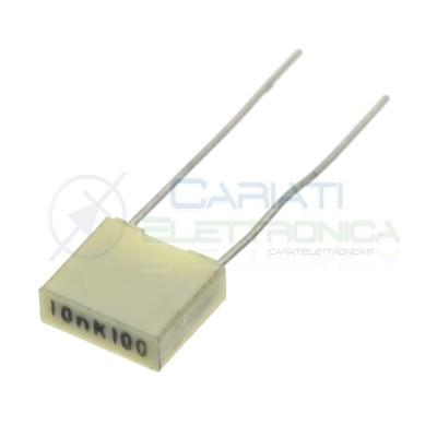 10 pezzi Condensatore in Poliestere 10nF 100Vdc 63Vac Passo 5mm Kemet