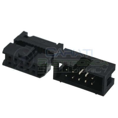 Kit Connettore Socket Idc per cavo Flat Fammina Maschio 10 Poli 2 Linee