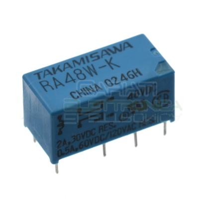 RA48W-K Relè con Bobina 48V Spdt 0.5A 30Vdc 120Vac doppio scambio Takamisawa Takamisawa