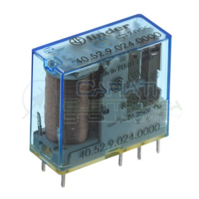 Relè 40.52.9.024.0000 Bobina 24V DPDT 8A 250VAC 30VDC Doppio scambio Finder