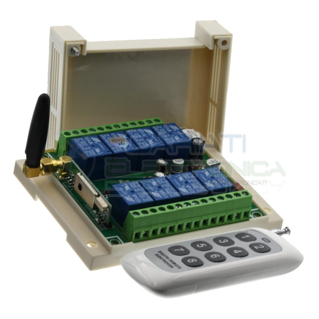 Scheda Ricevente Ricevitore 12V 24V 433 Mhz 8 Relè Canali con Telecomando