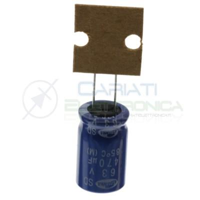 5 Pezzi Condensatore elettrolitico 470uF 63V 12X20mm 85° Passo 5mm Samwha