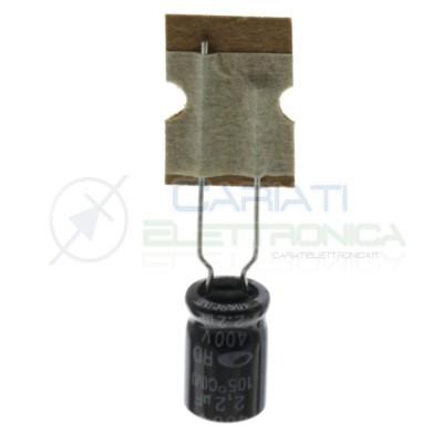 10 pezzi 2,2uF 400V Condensatore Elelettrolitico 8x11mm 105° passo 5mm Samwha