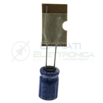 10 pezzi 2,2uF 450V Condensatore Elelettrolitico 8x11mm 85° passo 3,5mm Samwha