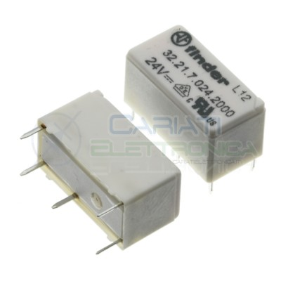 Relay 32.21.7.024.2000 voltage coil 24V DC SPST 6A 30Vdc 250Vac 4 pin FinderFinder