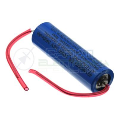 Pila batteria litio AA Stilo ER14505 3.6V 2400mAh con terminali saldare Li-SOCL2 MKC