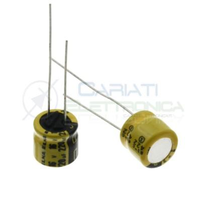 5 pezzi 220uF 16V Condensatore Elettrolitico 8x8mm 85° passo 3,5mm Elna