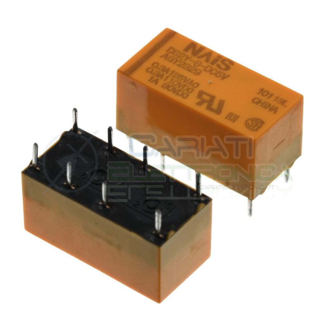 Relè DS2Y-S-DC5V bobina 5V DPDT 3A 30Vdc 250Vac 8 pin Nais Panasonic