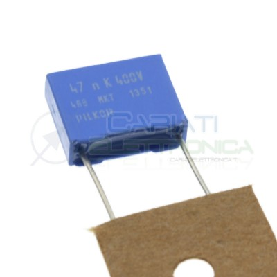 5 Pezzi Condensatore 47nF 400V in Poliestere MKP Passo 10mm 10% PILKOR ELECTRONICS
