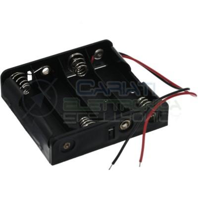 Porta Batteria PortaBatteria Per 4 Pile AA con Cavi 6V
