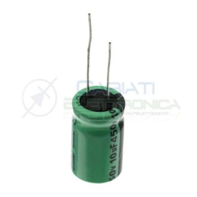 Condensatore elettrolitico 10uF 450V 105°C 12,5X20mm Passo 5mm Lelon