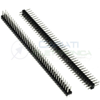 2 Pezzi Connettore Strip Line Doppia Fila 80 pin per Circuiti Pcb 40x2 Passo 2,54mm Generico