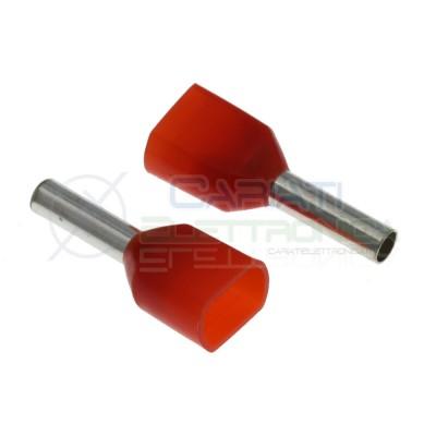 10 Pezzi Connettore a tubo preisolato Doppio 2x1.00 Rosso capicorda elettrici Cembre