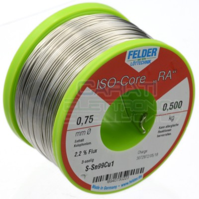 500g Bobina rotolo stagno 1mm Sn99 Cu1 flux 2,2% lead free per saldatura 0,5 kg Felder