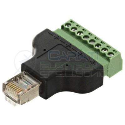Porta Ethernet RJ45 schermata Adattatore per cavi lan con morsetti a vite 8 pinGenerico