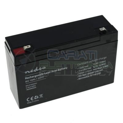 Batteria 6V 10000mAh 10Ah piombo-acido ricaricabile 151x50x95mm ermeticaNedis
