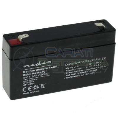 Batteria 6V 1200mAh 1,2Ah piombo-acido ricaricabile 97x24x52mm ermeticaNedis