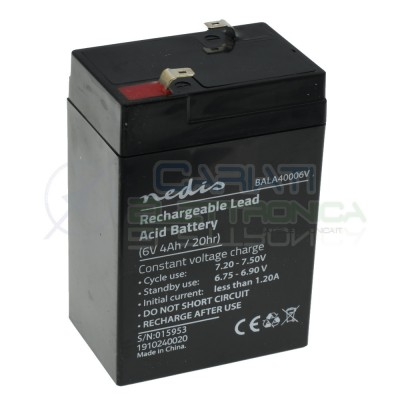 Batteria 6V 4000mAh 4Ah piombo-acido ricaricabile Beghelli Lampada di emergenza 70x41x101mm ermeticaNedis