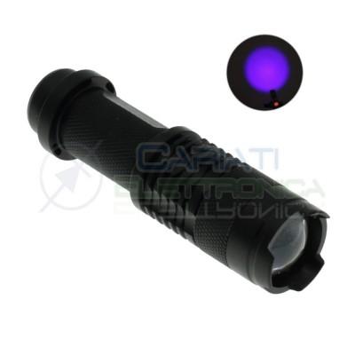 Mini Torcia con led UV Ultravioletto 3W 395 nm Zoom monta batteria AA 14500 Generico