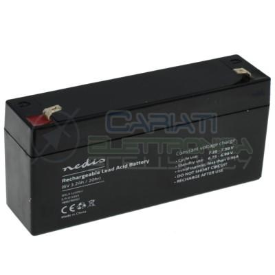 Batteria 6V 3200mAh 3,2Ah piombo-acido ricaricabile 134x35x61mm ermeticaNedis
