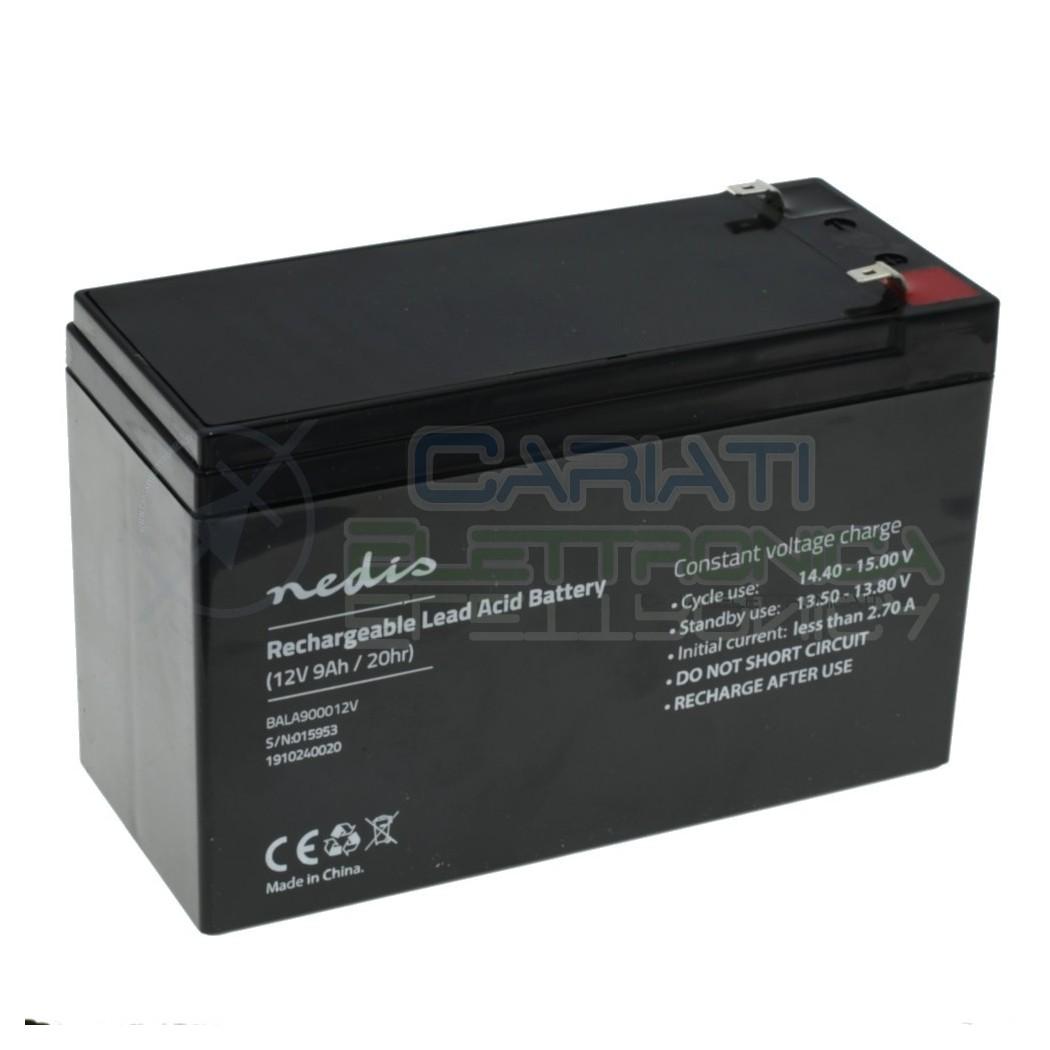 Batteria 12V 9000mAh 9Ah piombo-acido ricaricabile 150x65x95mm ermetica Nedis