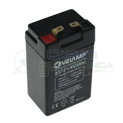 Batteria 4V 2Ah piombo-acido ricaricabile 45x33x81mm ermetica Velamp