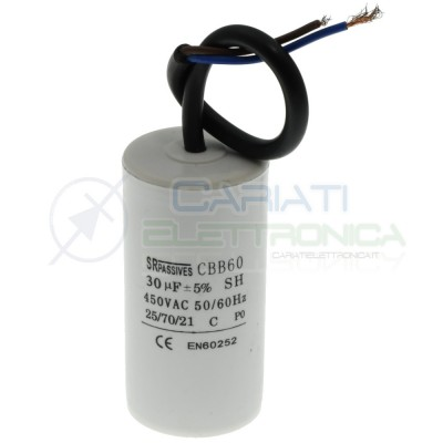 Start Capacitor for Motor AC 30uF 450V with cable Electric Motor Pump ectSR Passive