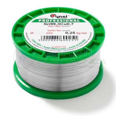 250g Bobina rotolo stagno 0,7mm Sn99,3 Cu0,7 flux 3% lead free Cynel