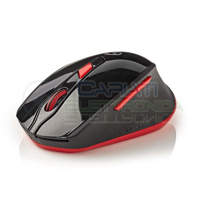 Mouse ottico wireless Wifi Usb 1600 Dpi Rosso per Notebook PC Computer 1600 DPI 2,4G Nedis