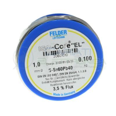 100gr Reel soldering wire 1mm 60/40 flux 3,5% Sn60 PB40 felder SolderFelder